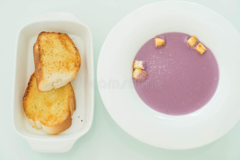 sweet japanese potatoes soup with bread stock images