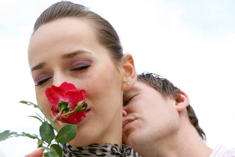 Sweet Kiss. Shot of Romantic Scene outdoor
