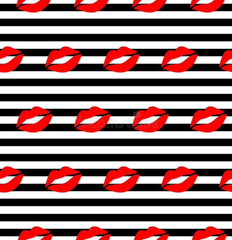 Lips pattern. Vector seamless pattern with woman`s red and pink kissing flat lips isolated on white. Sweet kiss seamless pattern. Vector seamless pattern with vector illustration