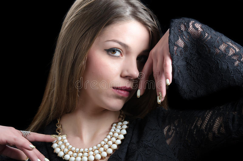 Sweet lady wear a fancy necklace stock images