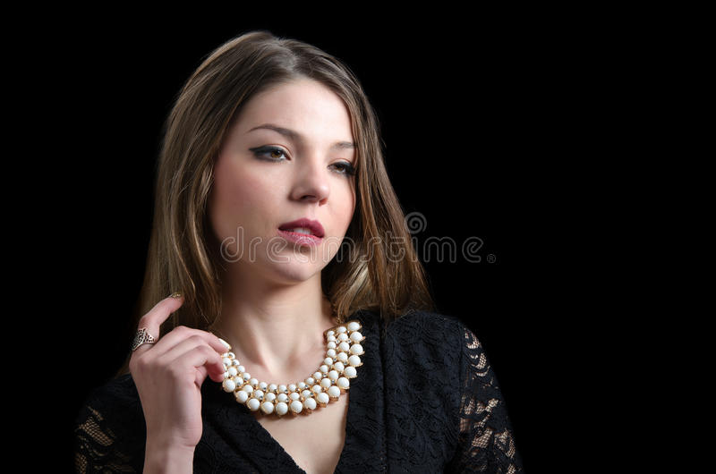 Sweet lady wear a fancy necklace royalty free stock images