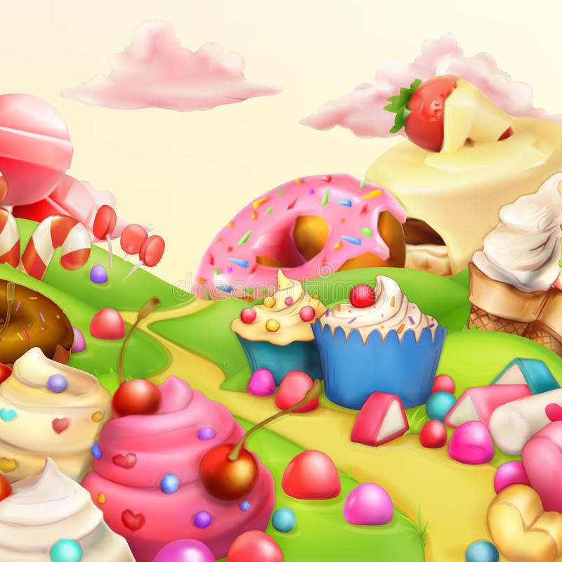 Sweet landscape background royalty free illustration
