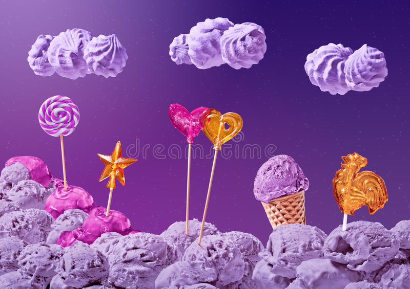 Sweet landscape of ice cream and candy vector illustration