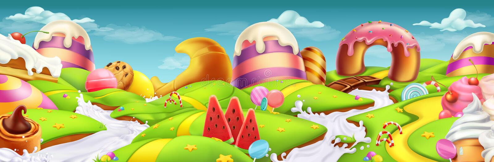 Sweet landscape panorama. vector background. Sweet landscape panorama. 3d vector background