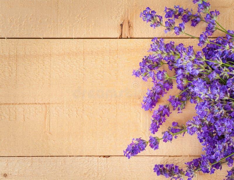 Sweet Lavender Flowers on Rough Wood Horizontal royalty free stock image