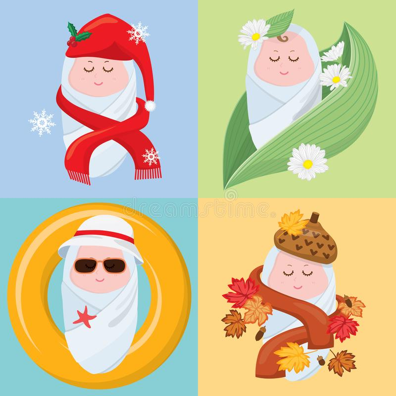 Sweet little babies four seasons royalty free stock photography