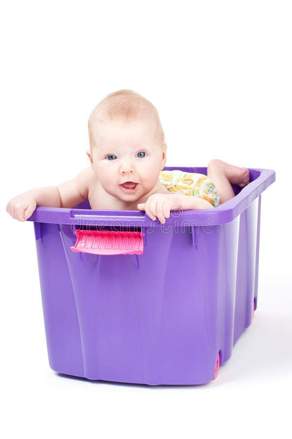 Free Sweet Little Baby In Violet Box Stock Photos - 24021773