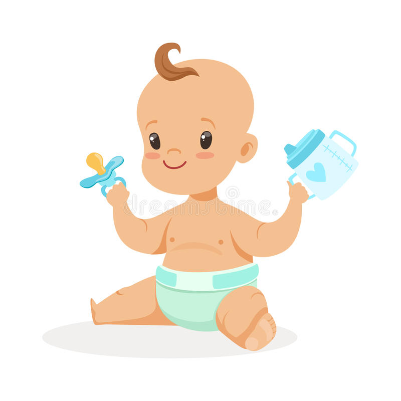 Sweet little baby sitting and playing with spout cup and pacifier, colorful cartoon character vector Illustration. Isolated on a white background royalty free illustration