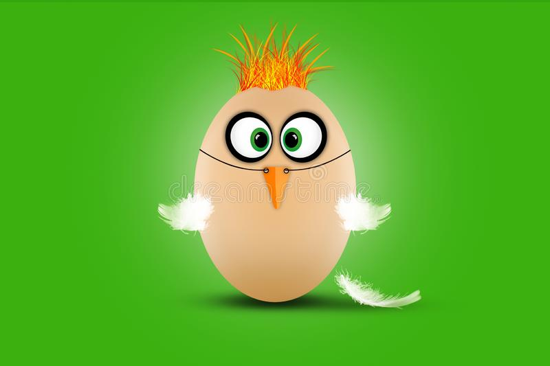 Cute little Easter egg dressed as a funny chicken on green background stock illustration
