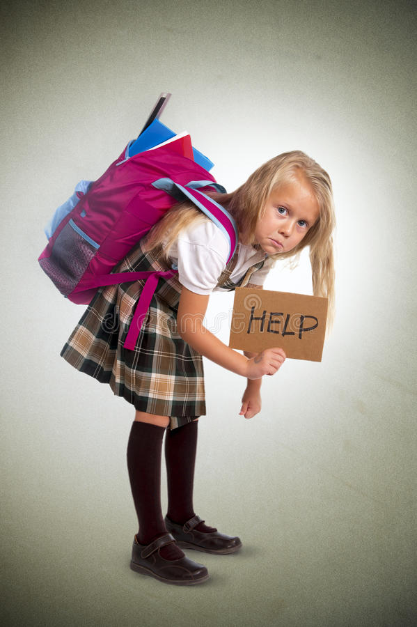 Sweet Little Girl Carrying Very Heavy Backpack Or ...