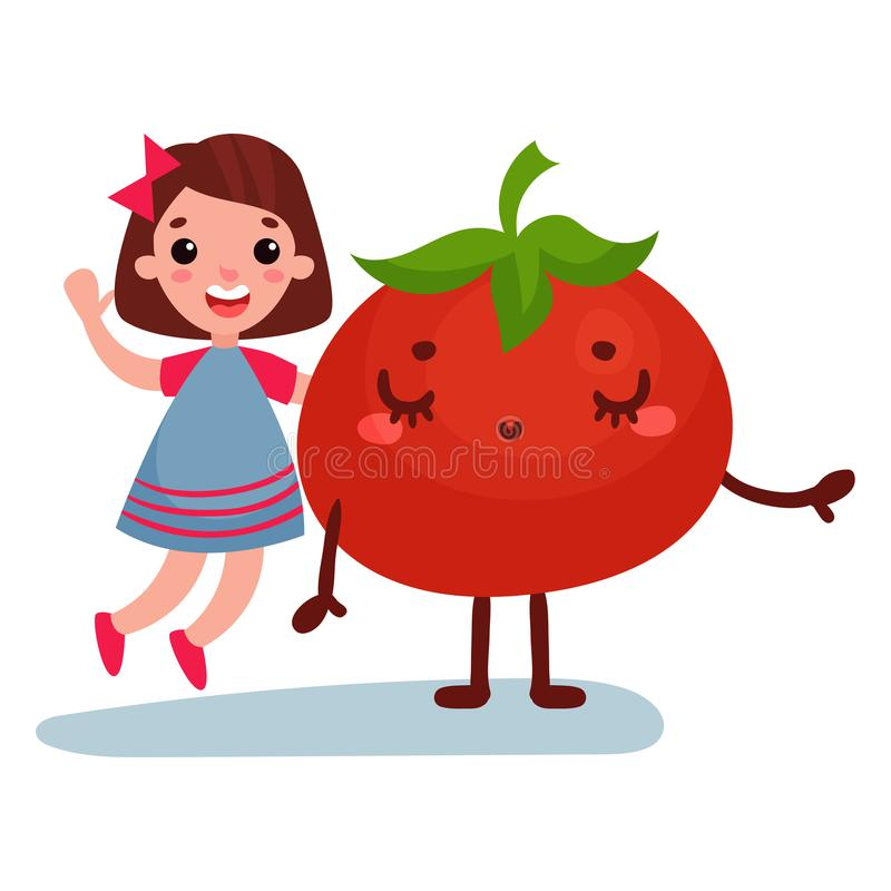 Sweet little girl having fun with giant tomato vegetable character, best friends, healthy food for kids cartoon vector royalty free illustration