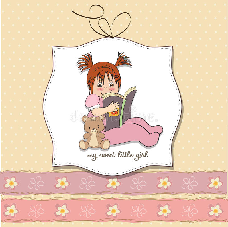 Download Sweet Little Girl Reading A Book Stock Illustration - Image: 26646841