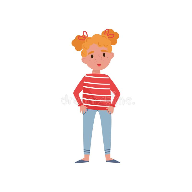 Sweet little girl with red hair vector Illustration on a white background vector illustration
