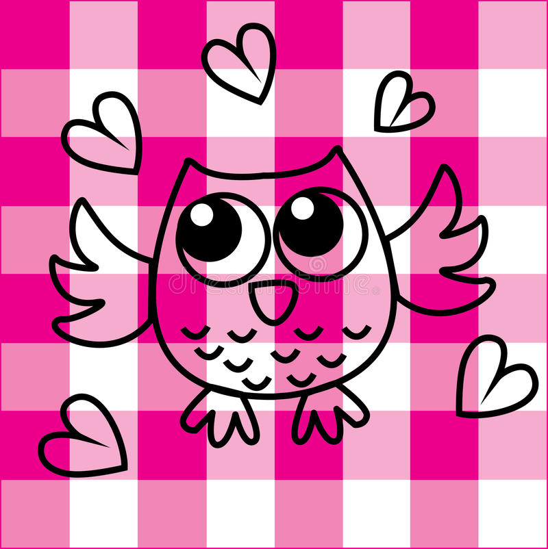 Sweet little owl on checkered background royalty free illustration