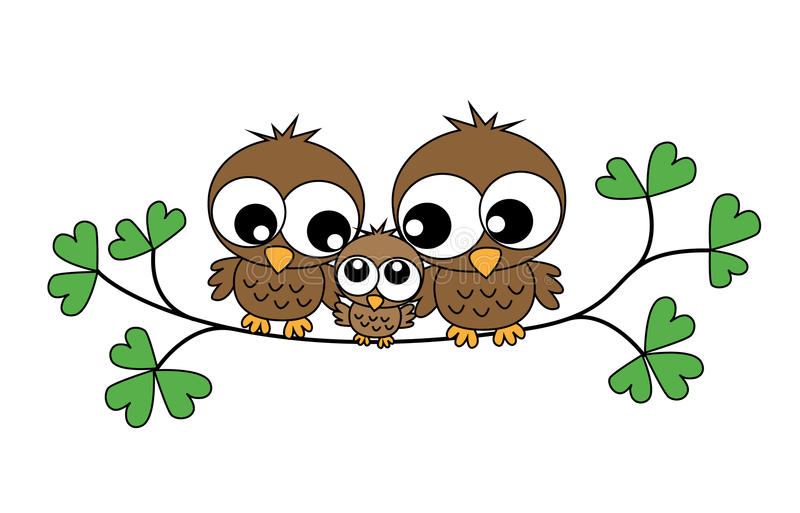 A sweet little owl family royalty free illustration