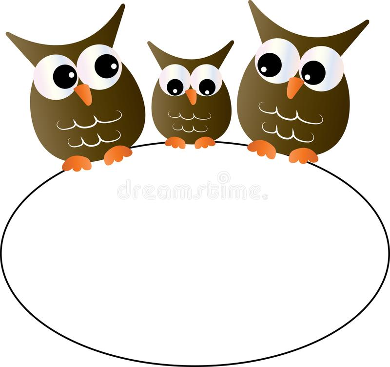 A sweet little owl family holding a sign stock illustration