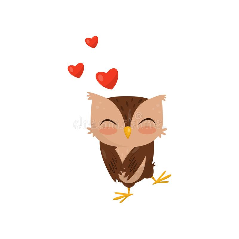 Sweet little owlet in love, cute bird cartoon character with red hearts vector Illustration on a white background vector illustration