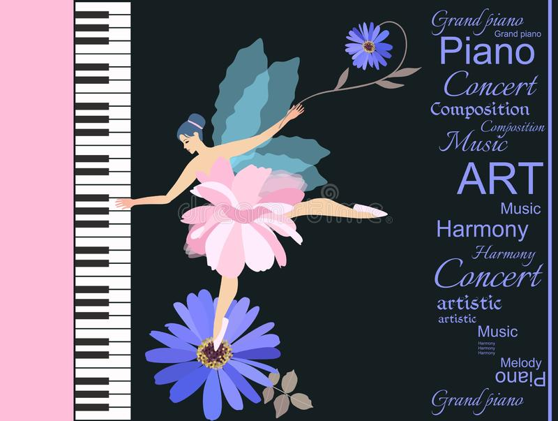 Sweet little winged fairy - ballerina in pink tutu playing on a large concert grand piano. Lovely blue chamomile and abstract text royalty free illustration