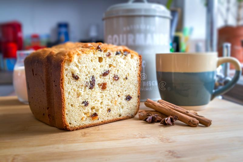Sweet loaf side view. With kitchen background stock image