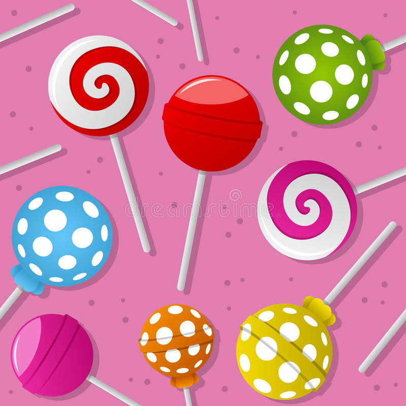 Sweet Lollipop Seamless Pattern. A seamless pattern with colorful sweet lollipop on pink background. Useful also as design element for texture, pattern or gift