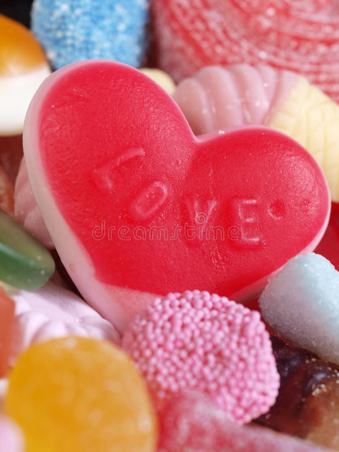 Sweet Love Candy. Close-up of assorted candy shapes with love heart royalty free stock photo