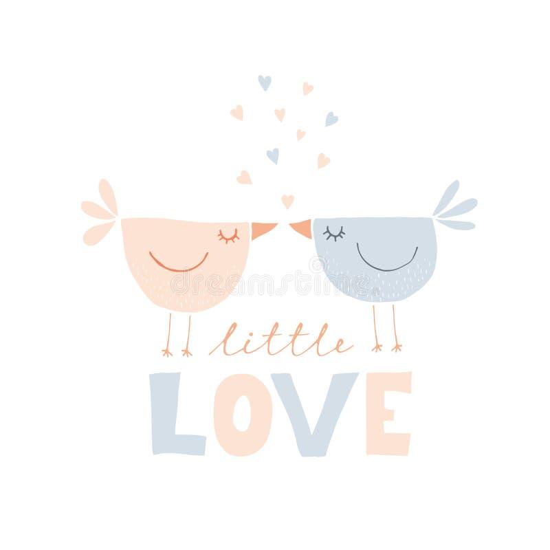 Sweet Love Birds Hand Drawn Vector Illustration. Cute Kissing Birds. stock illustration
