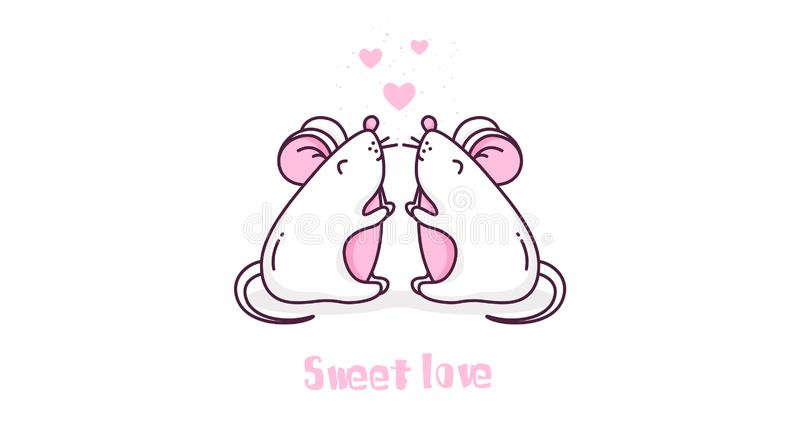 Sweet love card with two mice and hearts on white background. Thin line flat design. vector illustration