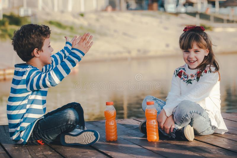 Sweet love moments on the river stock photography