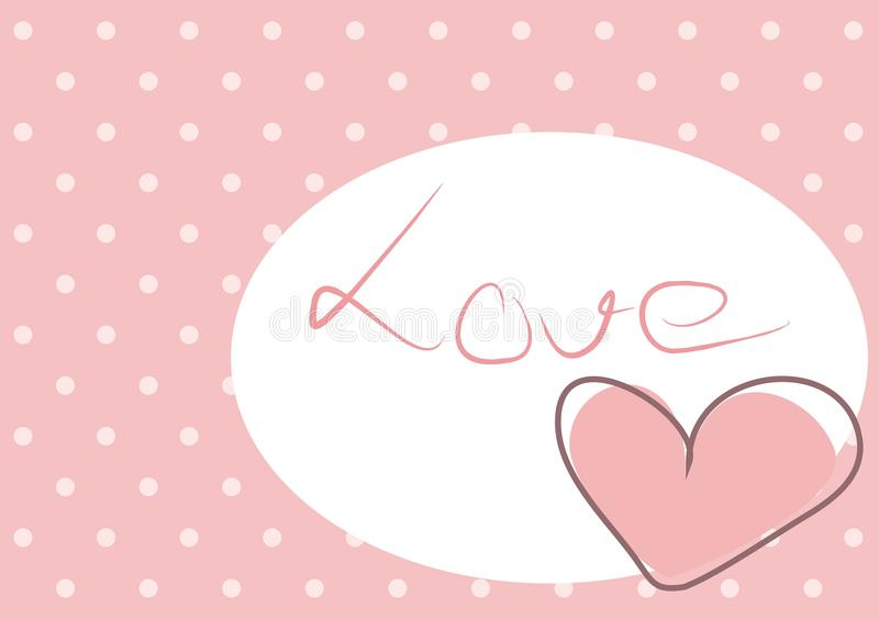 Sweet love - pink heart with polka dots background stock images