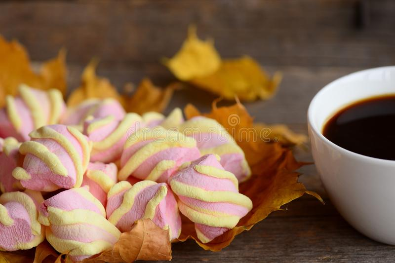 Light pink and yellow marshmallow zephyr on yellow autumn leaves, coffee cup on an old wooden background. Nice autumn coffee break royalty free stock images