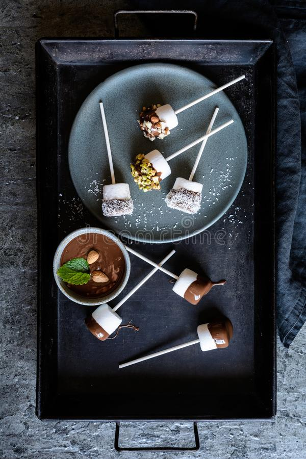 Sweet marshmallow pops with pistachios, almonds and grated coconut. Homemade sweet marshmallow pops dipped in chocolate, sprinkled with pistachios, almonds and royalty free stock images