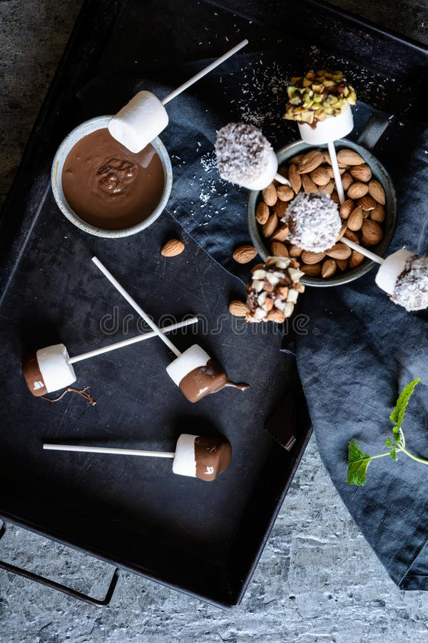 Sweet marshmallow pops with pistachios, almonds and grated coconut. Homemade sweet marshmallow pops dipped in chocolate, sprinkled with pistachios, almonds and stock image