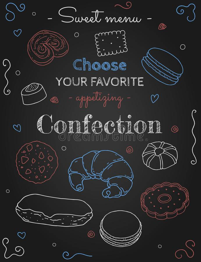 Sweet menu confection. Banner with confection sketches on the board royalty free illustration