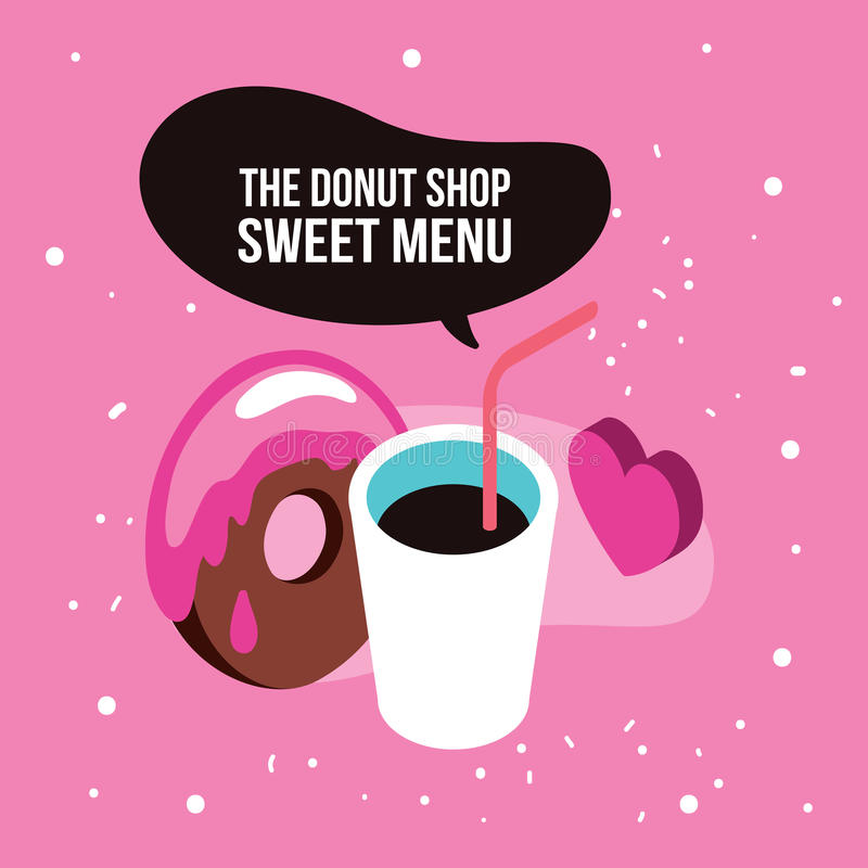 Sweet menu Delicious dessert chocolate donut syrup coffee set background stock illustration