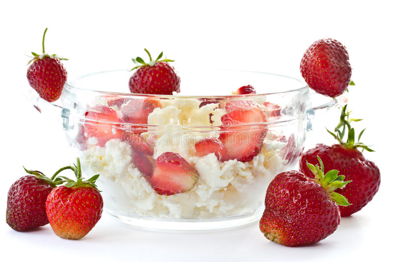 Sweet milk cottage cheese with strawberries royalty free stock photos