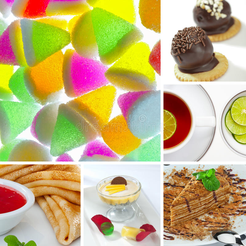 Sweet mix. Food and drink theme photo collage composed of few images stock photo