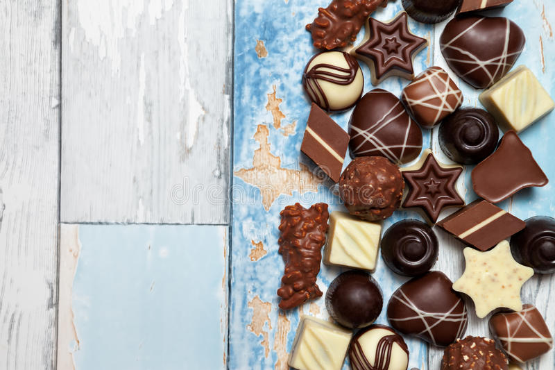 Sweet mixed chocolate pralines royalty free stock images