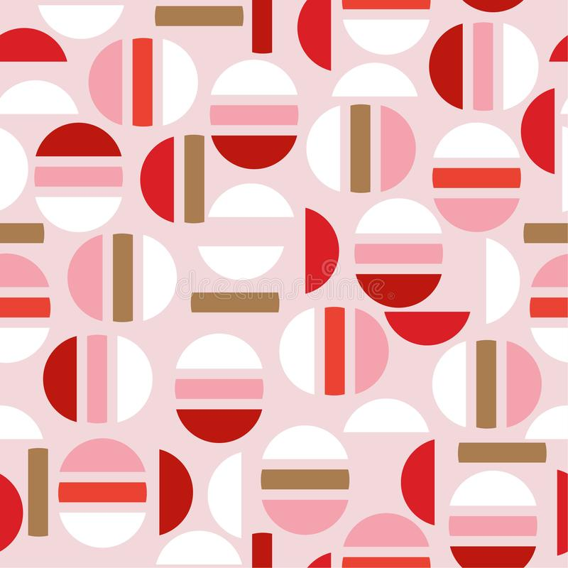 Sweet modern half of circle and geometric seamless pattern vector design for fashion,fabric,wallpaper, and all prints stock illustration