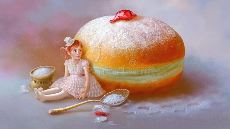 Sweet mystery. Sugar fairy. Hanukkah, sufganiyah. royalty free illustration