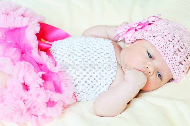 Sweet newborn girl stock image