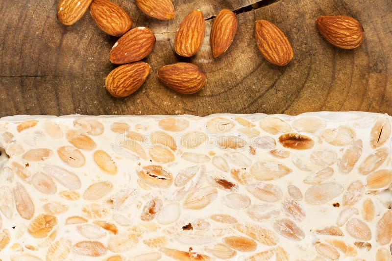 Sweet nougat and almonds stock images