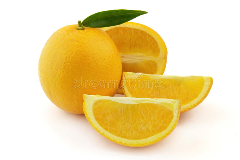 Sweet orange. With leaves on a white background royalty free stock photo