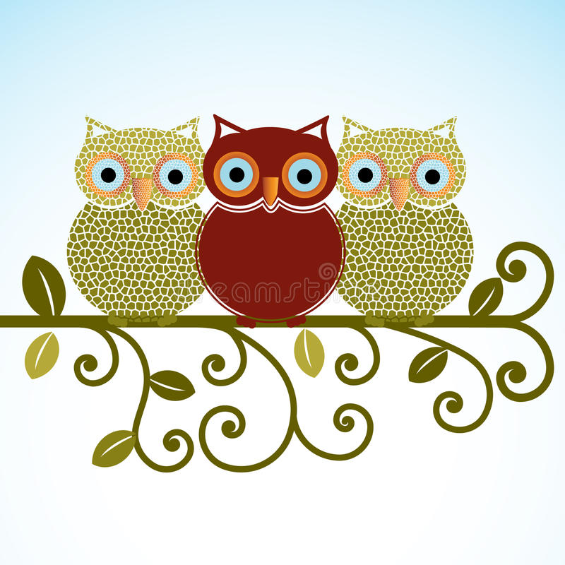 Download Sweet Owls on a perch stock vector. Illustration of beak - 29299292