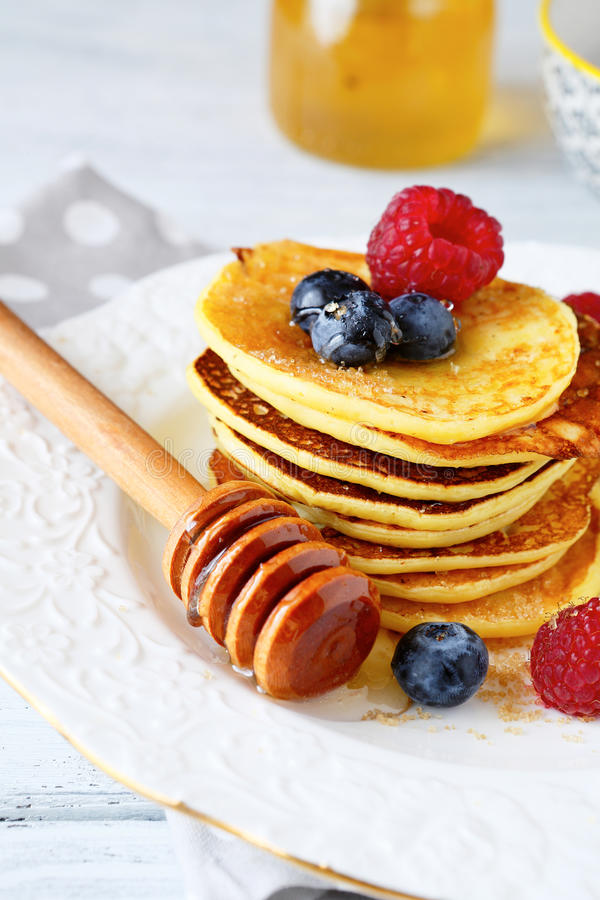 Sweet pancakes on a plate royalty free stock image