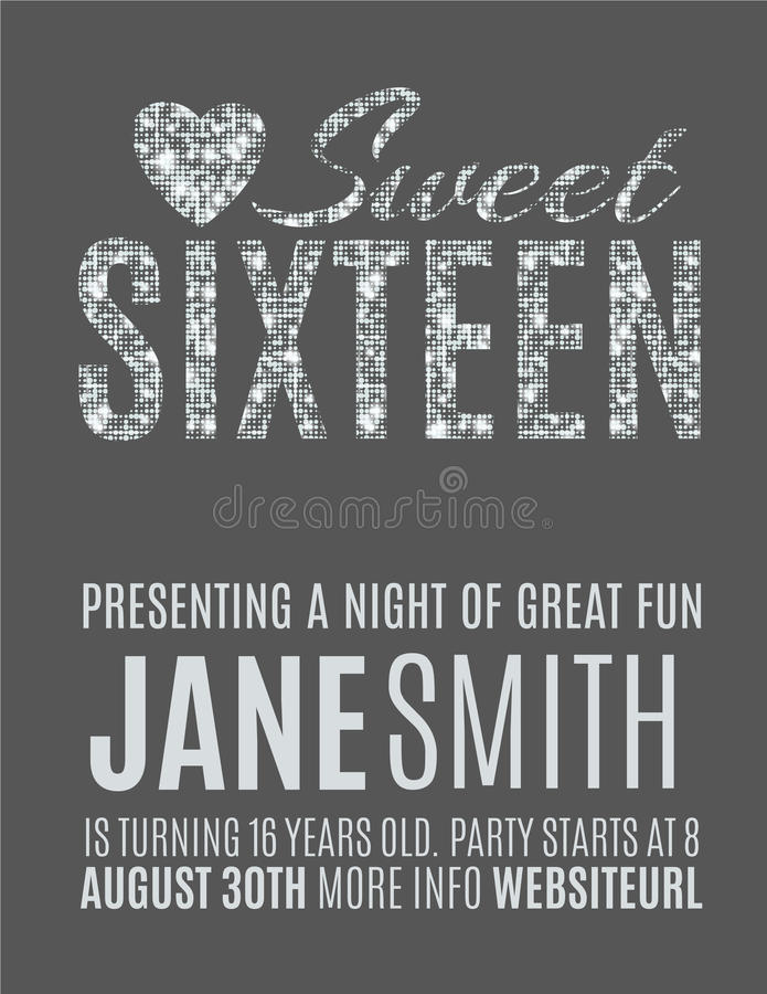 Sweet Party Invitation Template Stock Vector Illustration Of - Sweet 16 party invitation templates