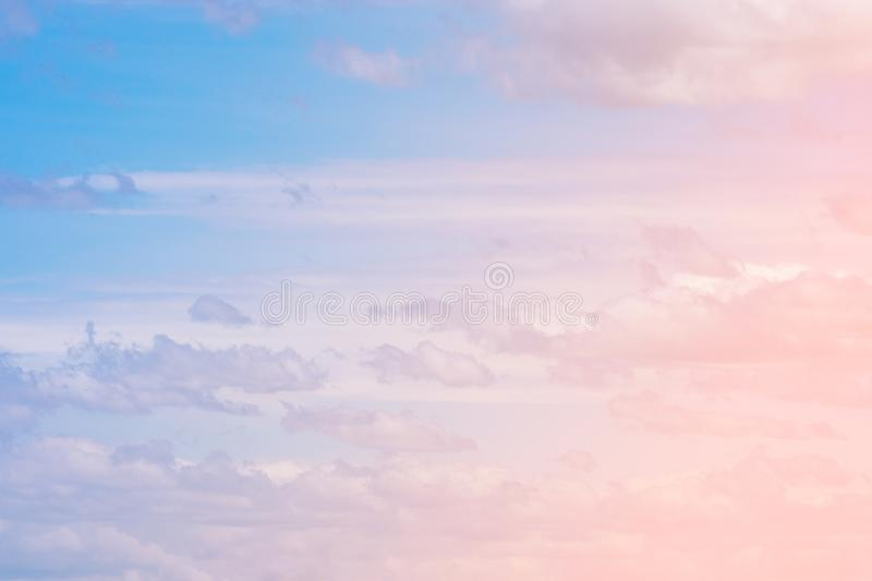 Sweet pastel colored cloud and sky with sun light, soft cloudy w stock images