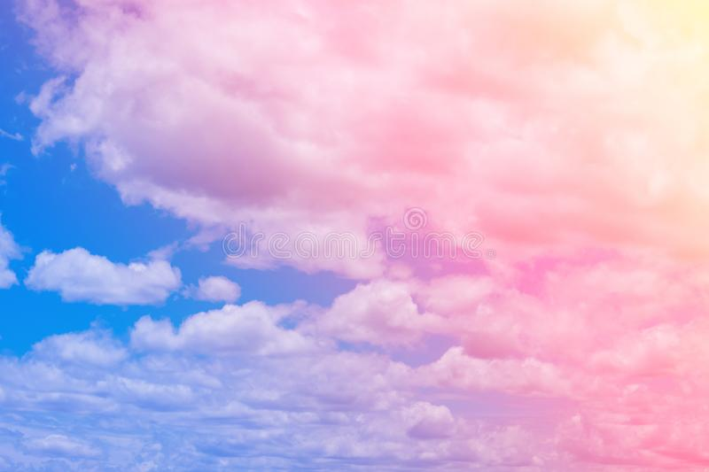 Sweet pastel colored cloud and sky with sun light, soft cloudy w stock photos
