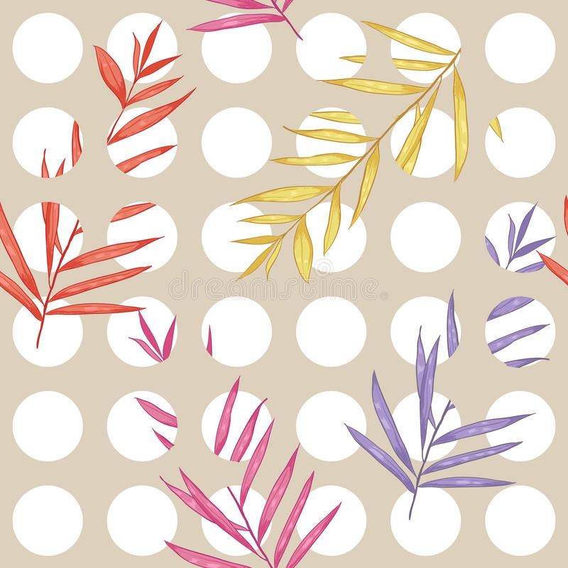 Sweet pastel pink on white polka dots seamless pattern mixed with colorful exotic leaves royalty free illustration