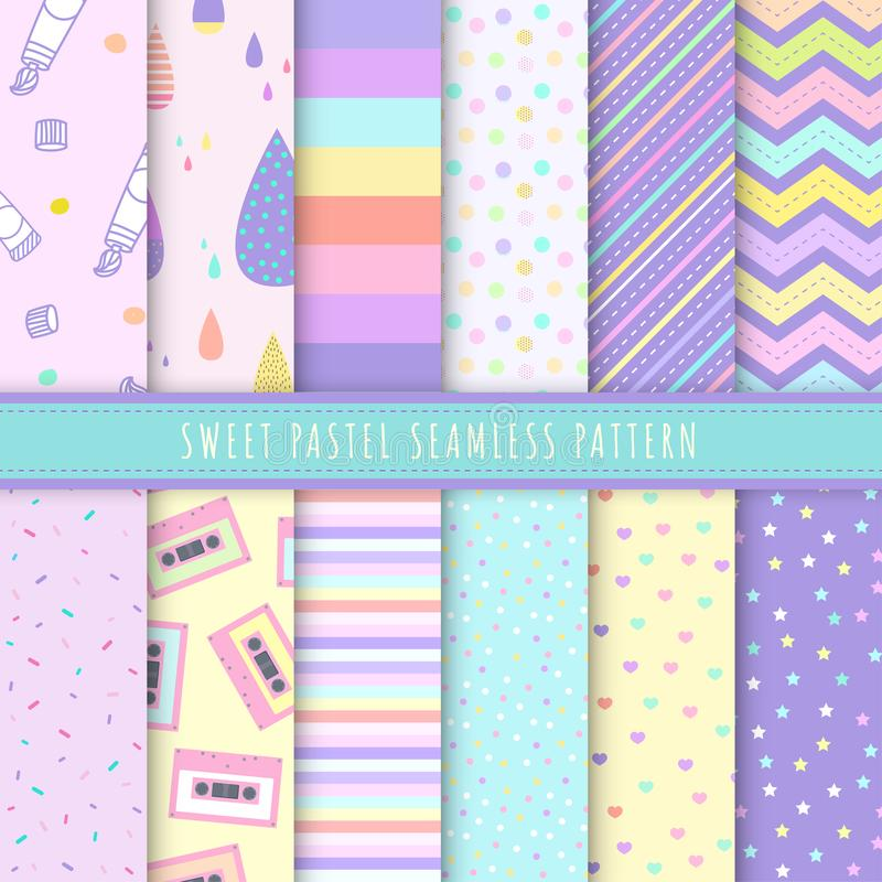 Sweet Pastel seamless pattern collection. Set of 12 colorful background with polka dot, stripe and simple symbol. Kawaii patterns vector illustration