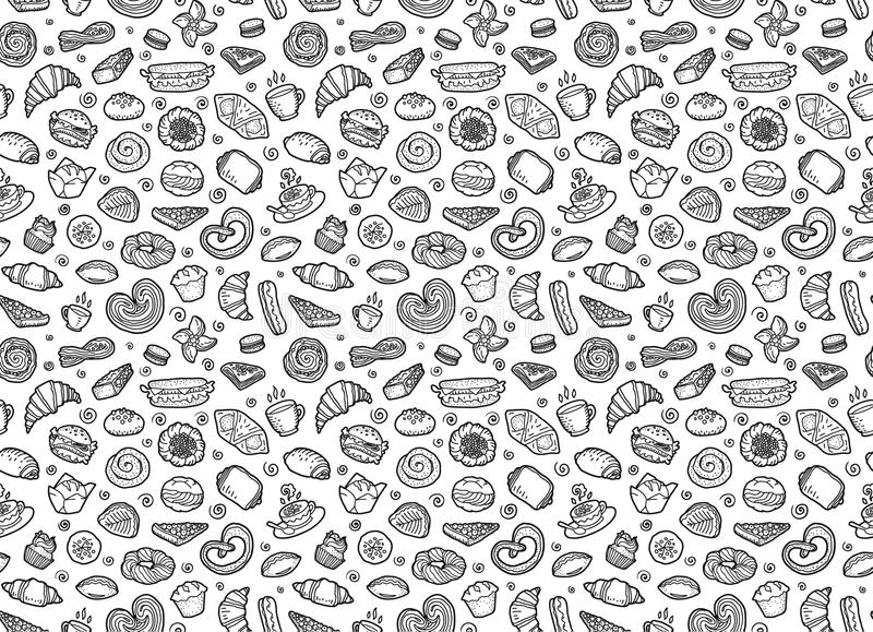 Sweet pastry, coffee and tea cups - European breakfast vector seamless pattern royalty free illustration